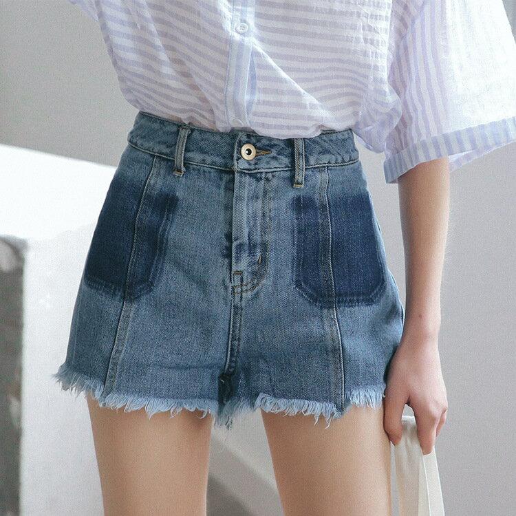實拍  夏季新款洗水直筒顯瘦牛仔短褲