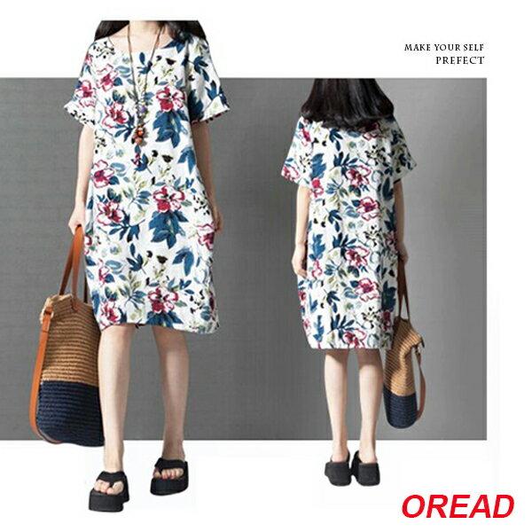 大花圓領棉麻連身裙 (白色,M~2XL) - ORead 自由風格 0