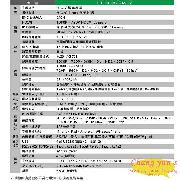 高雄/台南/屏東監視器 DHI-HCVR5824S-S2 H.264 16路DVR 大華dahua 監視器主機 請來電詢價