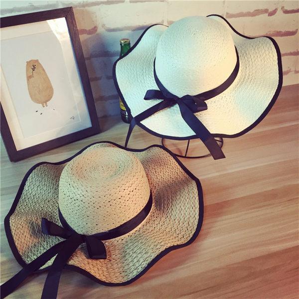 (預購)韓國 春夏時尚蝴蝶結波浪草帽 遮陽帽 防曬帽 沙灘帽 帽子