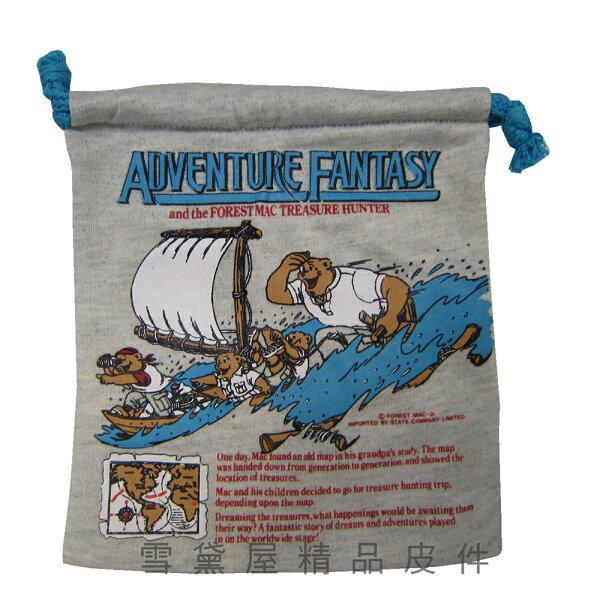 雪黛屋精品皮件:~雪黛屋~ADVENTURE束口袋超小容量簡易袋化妝包分類袋文具用品袋棉布材質男女全齡適用可刷洗好保養SG216098