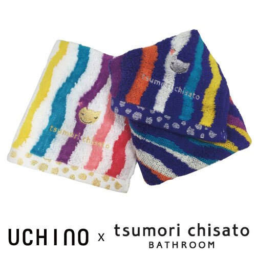 Tsumori Chisato 彩色波浪手帕 - 無撚毛巾 貓咪刺繡 日本設計師 津森千里