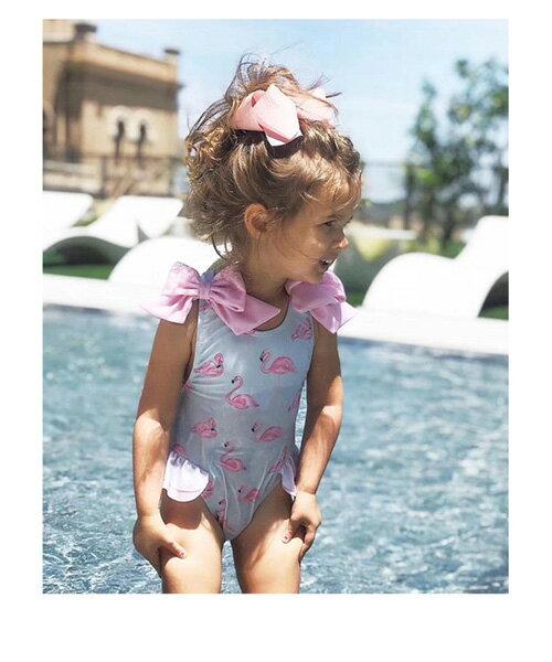 baby童衣 兒童泳衣 女童火烈鳥可愛蝴蝶結連體泳裝0-8歲嬰兒幼兒寶寶游泳衣 88315