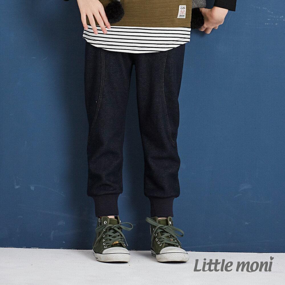 Little moni 內刷绒仿牛仔針織長褲-深藍(好窩生活節) 1