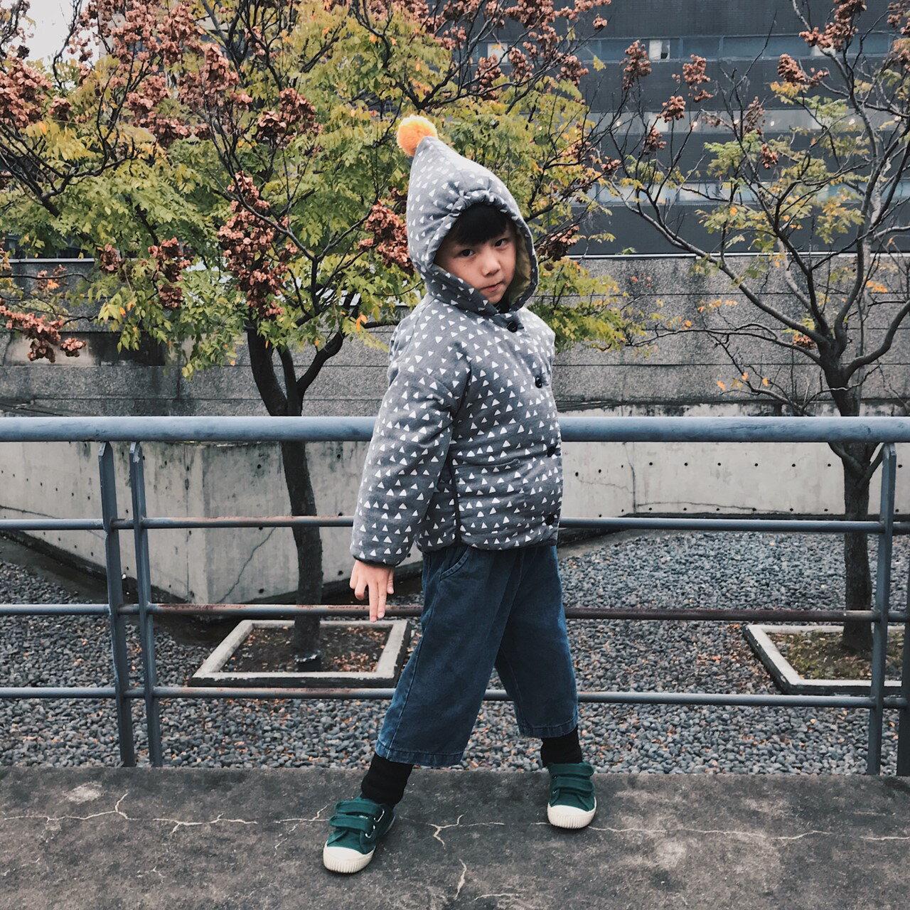 毛球鋪棉三角印花連帽長袖外套 厚外套 外套 鋪棉 鋪棉外套 連帽上衣 女童 男童 中性款 橘魔法【p0061198291947】 2
