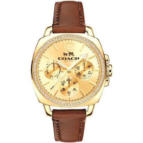 COACH 甜美璀鑽時尚三眼皮帶腕錶 / 金x咖啡 / 14502172 - 限時優惠好康折扣