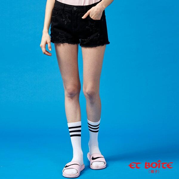 【春夏新品】五角星立體修身短褲(黑)-BLUEWAYETBOiTE箱子