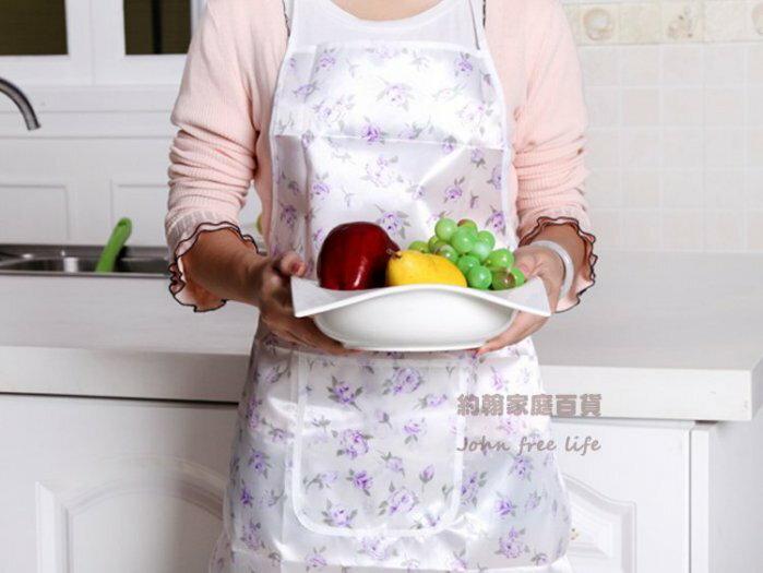 約翰家庭百貨》【AG250】防水防污印花口袋圍裙 煮菜洗衣 隨機出貨