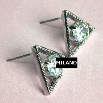 925純銀耳環鑲鑽耳飾~ 精緻亮眼三角星情人節生日 女飾品73du40~ ~~米蘭 ~