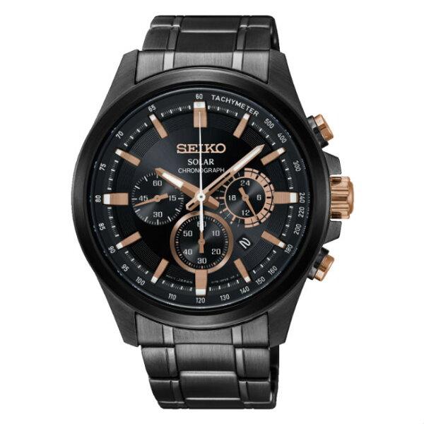 Seiko精工錶criteriaV175-0ER0SD(SSC695P1)經典三環太陽能計時腕錶黑面43mm