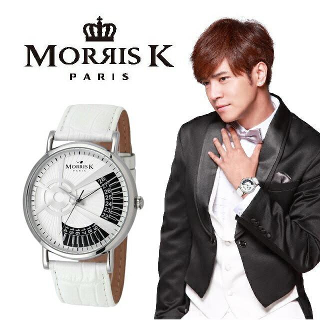 【Morris K】羅志祥代言 鋼琴狂想曲時尚腕錶-銀色 /43MM MK10315-DA04
