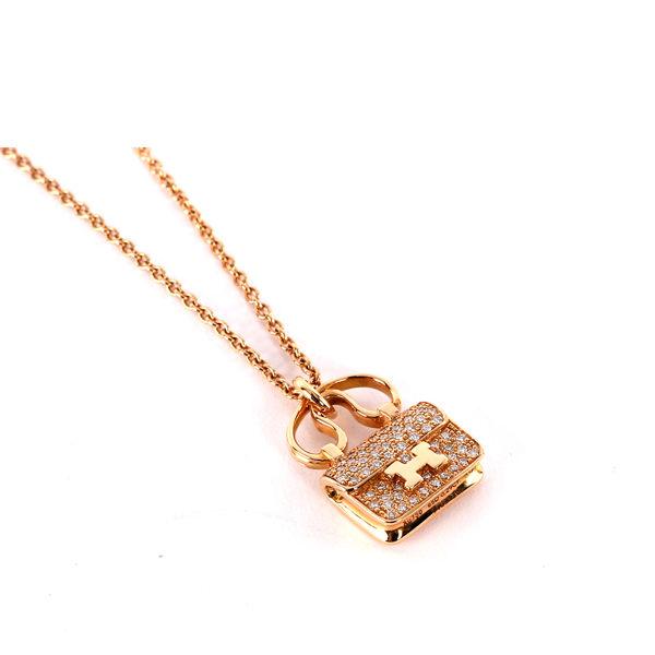 【HERMES】constance造型全鑽 項鍊(稀有款)(玫瑰金)HE42000007