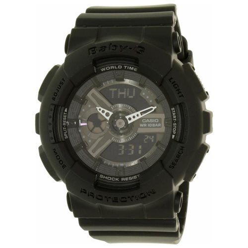 Casio BA110BC-1A Women's Baby-G World Time Ana-Digi Black Dial Black Resin Strap Chronograph Alarm Watch 0
