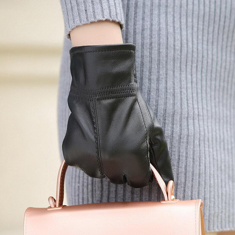 真皮手套保暖手套-黑色綿羊皮加絨百搭女手套73wm56【獨家進口】【米蘭精品】 1