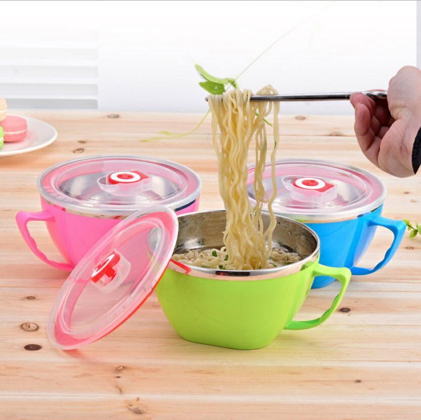 馬卡龍炫彩304不鏽鋼雙層泡麵碗 304不銹鋼 雙層隔熱 附蓋密封 泡麵杯 便當 保鮮飯盒 防燙 日韓式兒童餐具