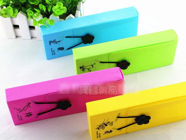 韓國創意文具盒簡約可愛時尚彩色化妝盒鈕扣鬆緊帶筆盒/筆袋【特價】§異國精品§