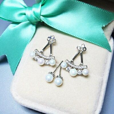 925純銀耳環珍珠耳飾~簡潔耀眼鏤空三角形生日情人節 女飾品73ia70~ ~~米蘭 ~