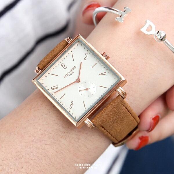 手錶氣質玫金皮革腕錶【NE2031】單支