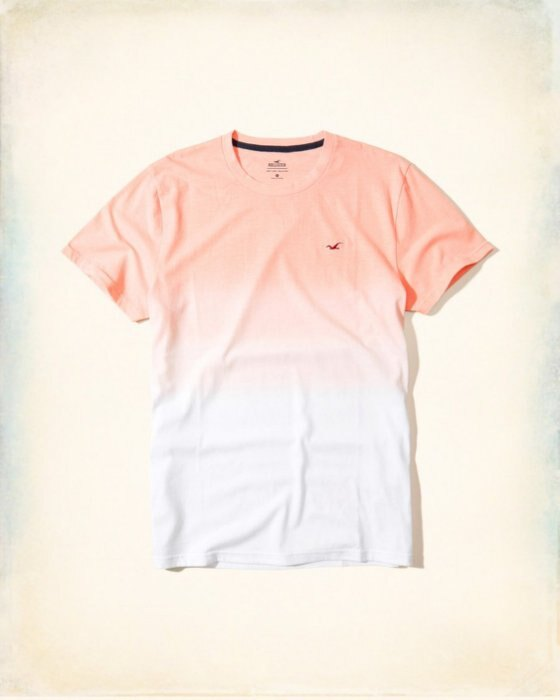 美國百分百【Hollister Co.】T恤 HCO 短袖 T-shirt 海鷗 logo 粉橘漸層 XS號 H924