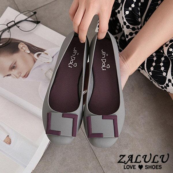 ZALULU愛鞋館 7U316 預購 熱銷款 搭色淑女款平底防水娃娃雨鞋-黑 / 灰 / 藍 / 紫-36-40 3