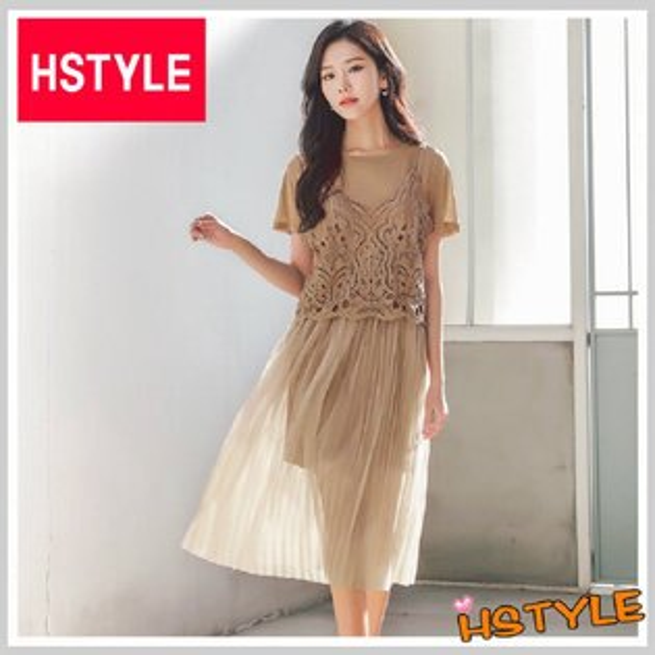 連身裙兩件式蕾絲網紗短袖洋裝LU7495-創翊韓都