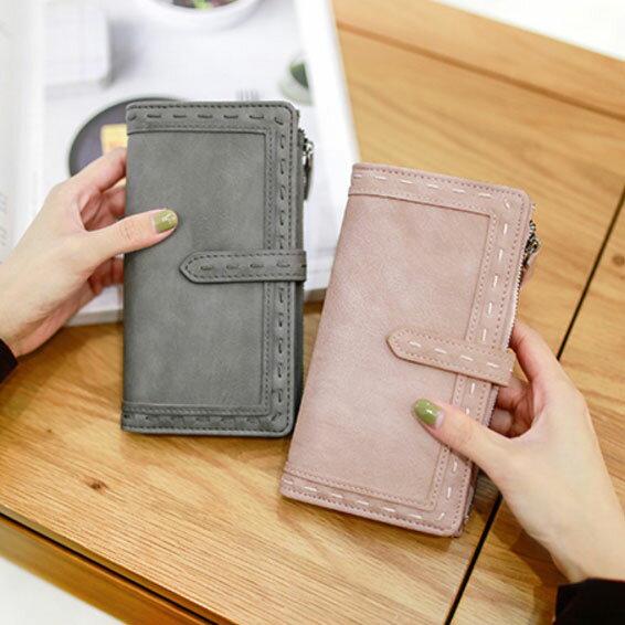 復古編織縫線磨砂長夾 皮夾 錢包 手機手拿包
