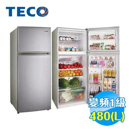 東元 TECO 480公升雙門變頻冰箱 R4881XLH 【送標準安裝】