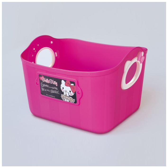 X射線【C340525】Hello Kitty日本製置物籃-桃,雜物籃/收納籃/衛浴用品籃/手提籃