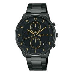 agnes b VD57-KY30G(BM3019J1) 法式時尚計時腕錶/黑面40mm