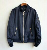 飛行外套推薦到大碼潮服《40-100公斤》飛行夾克 情侶款 男女款(藏青)  預購商品7~15日就在大碼潮服推薦飛行外套