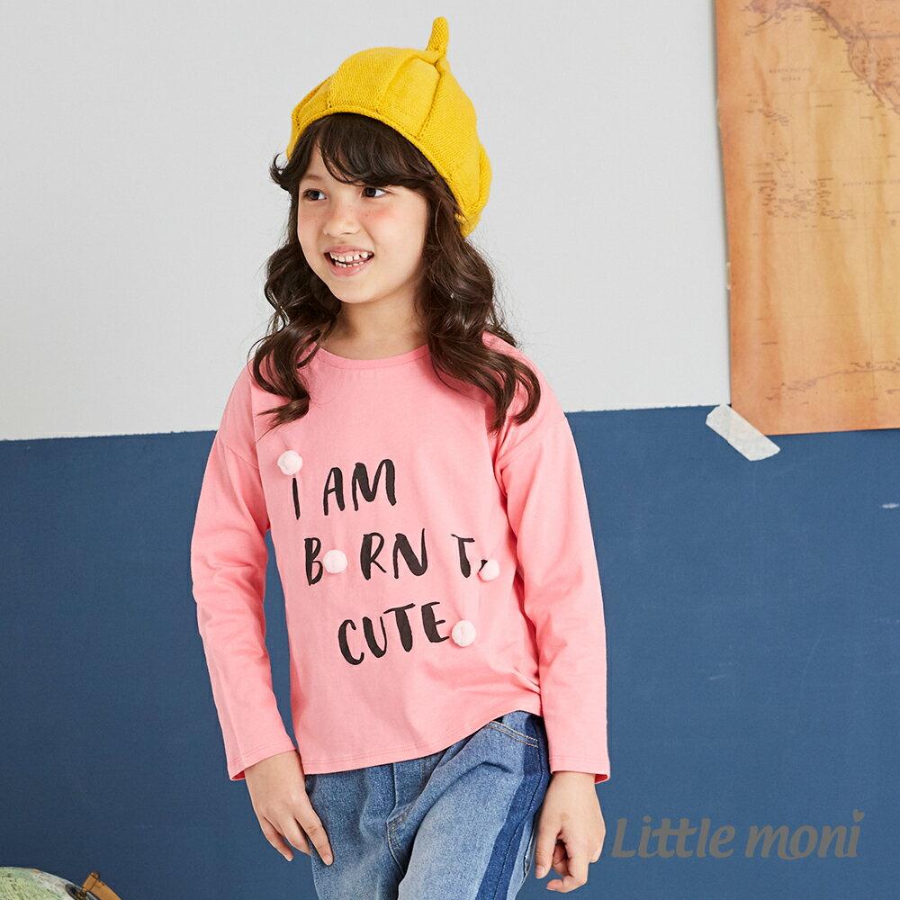 Little moni 立體毛球印圖綁帶上衣-粉紅 1