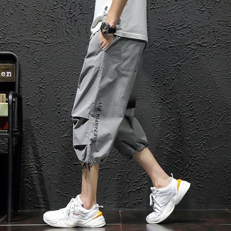 工裝7七分褲男短褲加大碼夏天休閒中褲日系潮胖寬鬆薄嘻哈束腳褲