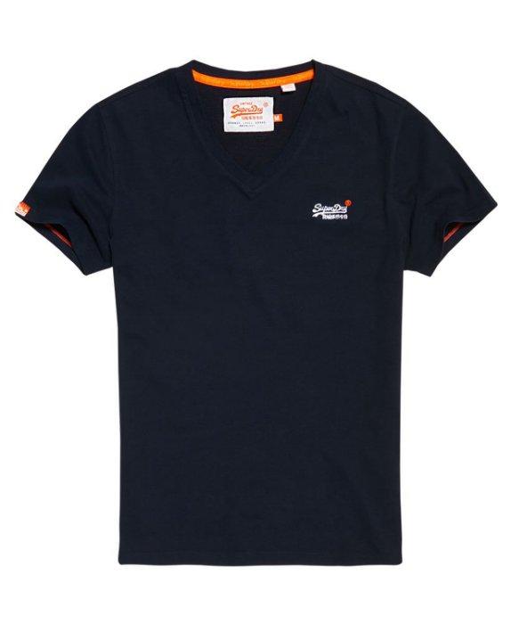 跩狗嚴選 正品 極度乾燥 Superdry 經典 刺繡Logo T-shirt 深藍 純棉 V領 短袖 素T 上衣 短T