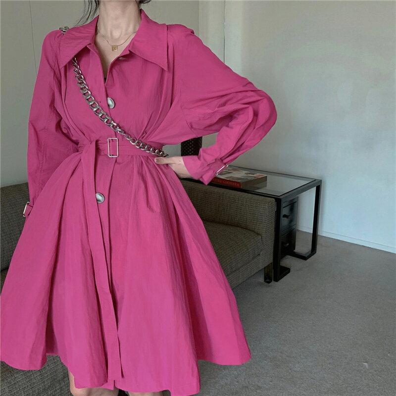 秋季新款法式復古中長款風衣連衣裙氣質寬松長袖薄款外套女裝