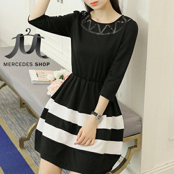 梅西蒂絲Mercedes Shop:《現貨出清5折》黑白撞色高腰顯瘦七分袖洋裝-S-XL-梅西蒂絲(現貨+預購)