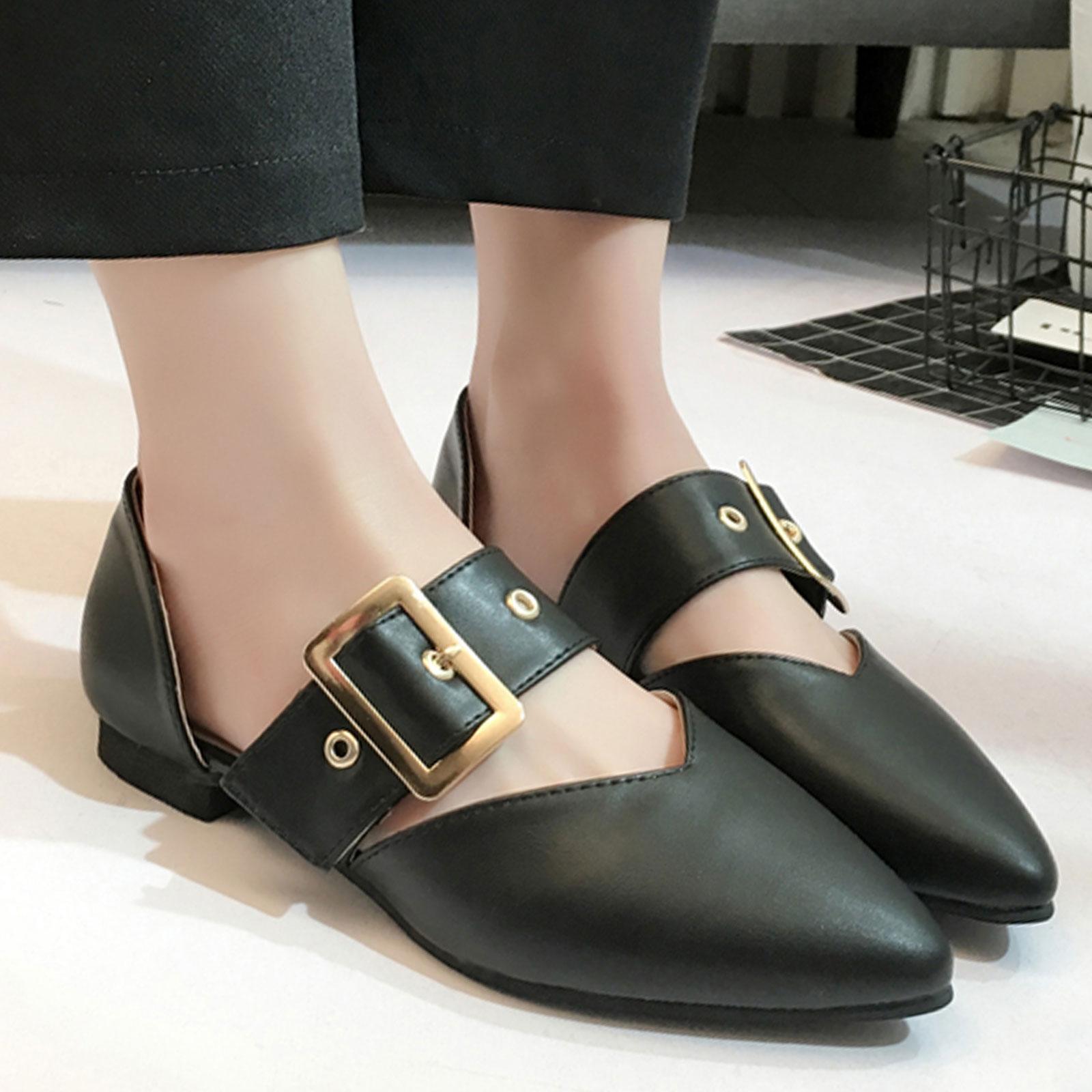 平底鞋 側空淺口皮帶扣尖頭平底鞋【S1684】☆雙兒網☆ 2