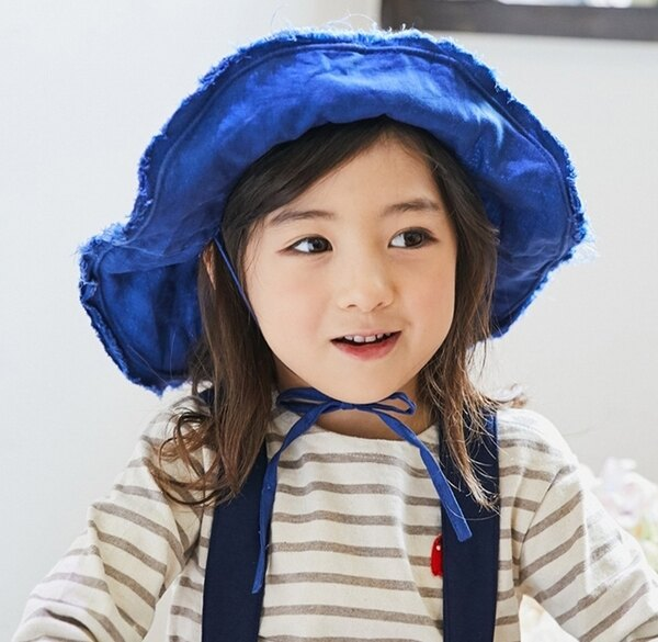 Lemonkid:Lemonkid◆日系百搭麻料繫帶不規則大帽沿兒童防曬漁夫帽盆帽遮陽帽-藍色