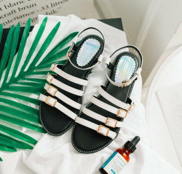 Pyf♥羅馬風個性露趾平底學生涼鞋繞踝一字皮帶扣帶43大尺碼女鞋