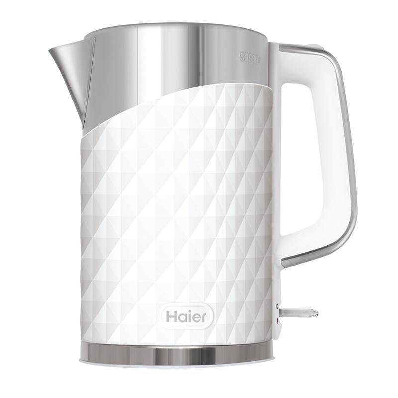 【海爾 Haier】1.7L鑽紋雙層防燙快煮壺 - 高雅白