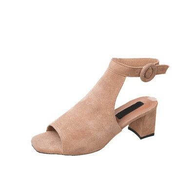 韓國東大門款優雅女鞋魚口露趾粗跟露涼鞋歐美時尚中低跟好穿好走絨面方頭