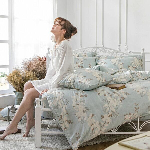 戀家小舖:床包兩用被套組雙人-100%純天絲【月光葉影】60支天絲,含兩件枕套,戀家小舖
