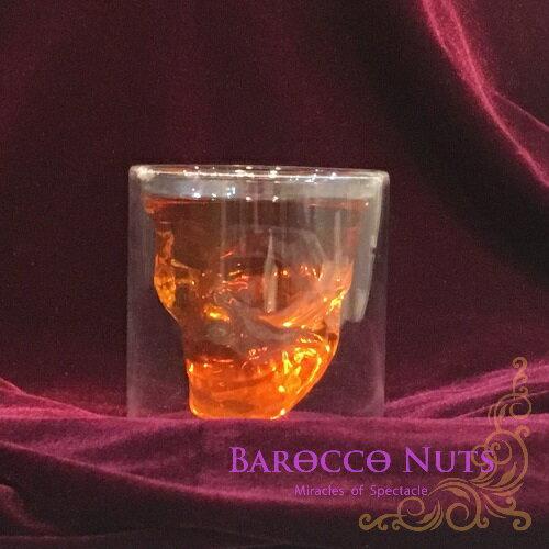 【Barocco Nuts】[特色擺飾]雙層玻璃骷髏頭造型酒杯(威士忌杯/現貨/隔熱/shot/酒吧/紅酒杯/創意造型杯/交換禮物)