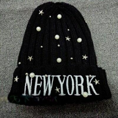~毛帽針織毛線帽~ 明星同款水鑽珍珠女帽子5色73ie2~ ~~米蘭 ~