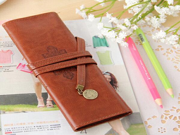 BO雜貨:BO雜貨【SV6292】韓系復古三折捲繩式高級皮質筆袋刷具化妝袋收納包鉛筆盒