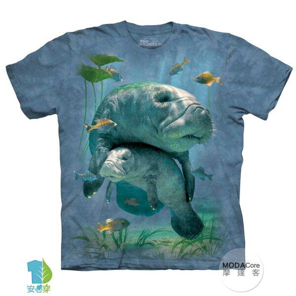 【摩達客】(預購)美國進口TheMountain親子海牛純棉環保藝術中性短袖T恤
