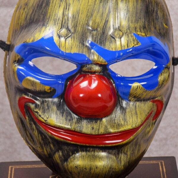 塔克玩具百貨:土豪金圓臉小丑面具仿古面具蝙蝠俠小丑日本藝妓全臉面具面罩面紗【A77008801】塔克玩具