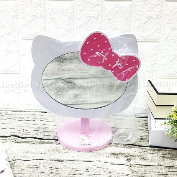 HELLOKITTY鏡子化妝鏡桌鏡桌上化妝鏡鏡台木質居家美妝正版日本授權JustGirl