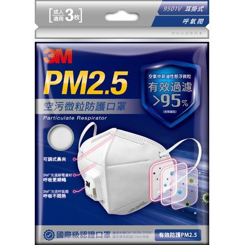 3MPM2.5空污微粒防護口罩呼氣閥3入