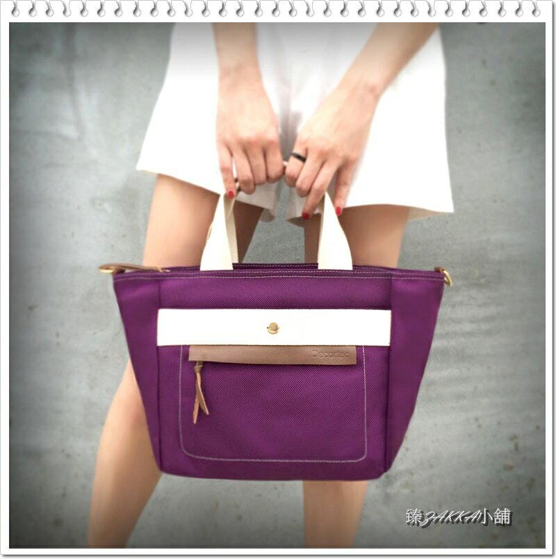 牛皮防潑水尼龍(女用)手提包(紫色)/氣質斜背包*臻ZAKKA小舖