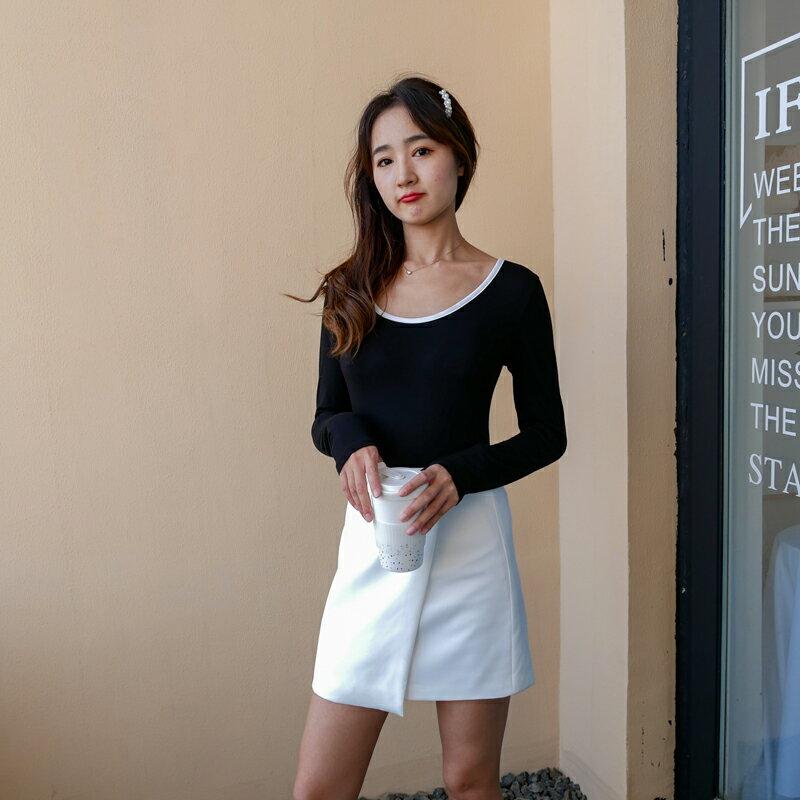 黑色性感露背t恤新款小心機黑白撞色小衫小眾設計感系帶美背上衣1入